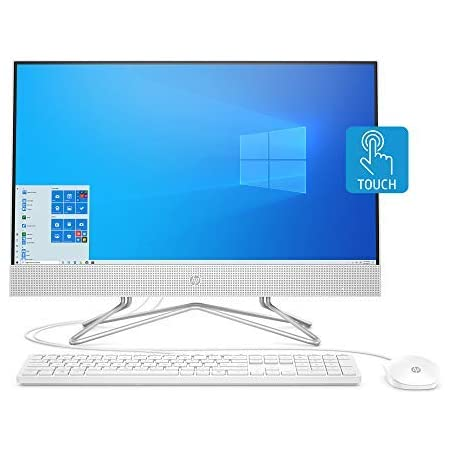 HP 24-inch All-in-One Touchscreen Desktop Computer, AMD Athlon Silver 3050U Processor, 4 GB RAM, 256 GB SSD, Windows 10 Home (24-df0030, White), Snow White