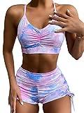 Floerns Women's Tie Dye Drawstring Side Spaghetti Strap 2 Piece Bathing Suits Swimsuit A Purple S