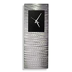 Statements2000 Metal Wall Clock Art Abstract Silver Black Accent Decor by Jon Allen, Black Radiance Clock