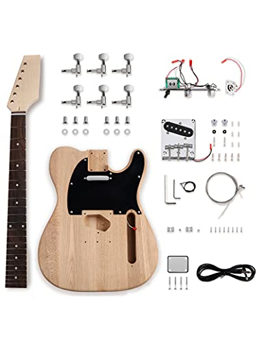 Bogart DIY Electric Guitar Kits Tele Style Beginner Kits 6 String Right Handed with Ash Body Hard Maple Neck Rosewood Fingerboard Chrome Hardware...