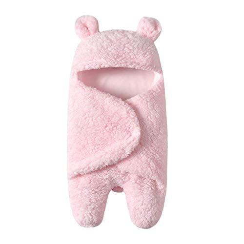 BriskyM Neugeborenes Baby Gestrickt Wickeln Swaddle Decke, Schlafsäcke Baby Winter, Plüsch Wickeldecken Baby Shower Sleeping Wrap Swaddle Geschenke (Rosa, 1)
