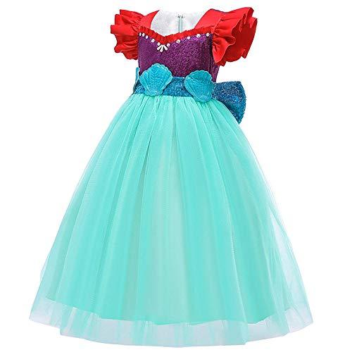 YWXJY Princesa Niñas Vestir Ropa Disfraces Halloween 2020 Niños Vestidos de Sirena Pettiskirt-Falda Morada_110cm