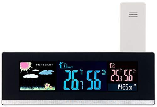 infactory Temperaturanzeige: Tisch-Wetterstation, Funk-Außensensor, Farb-LCD-Display, USB-Ladeport (Heim-Wetterstation)