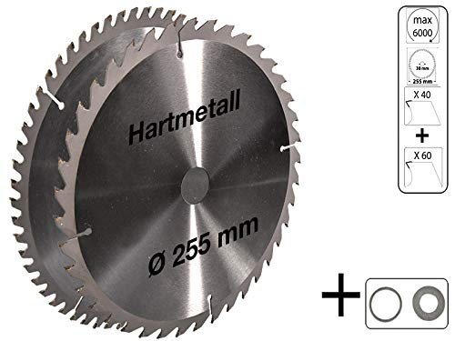 2 tlg Set Kreissägeblatt Hartmetall 255 x 30 mm 40 Z + 60 Z für Holz Sägeblatt