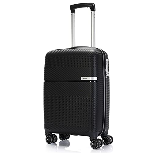 BONTOUR Valise rigide à roulettes 55 x 38 x 20 cm avec serrure TSA Bagage à main 4 roulettes en matériau solide et flexible, Noir , Handgepäck Koffer,