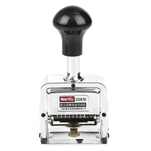 SENREAL Automatic Numbering Machine Self Inking Number Stamp Auto Jump Digits Metal Number Stamps Kit 5-8 Digits (7 Digit)