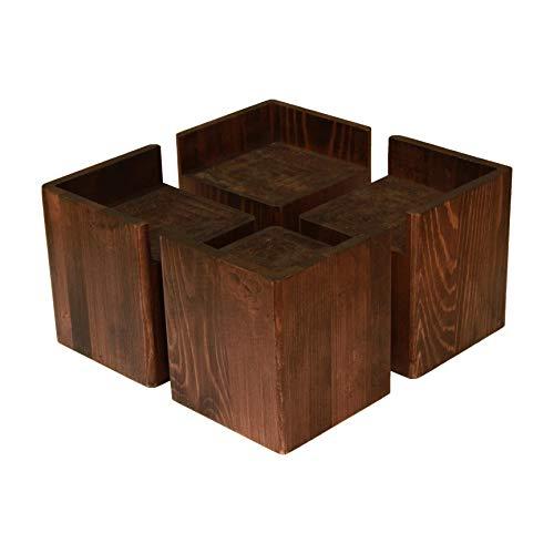 Almanor Goods Corner Bed Risers Furniture Lifters Wood (Set of 4), Heavy Duty Handmade Rustic Pine, Create Storage Space (Dark)