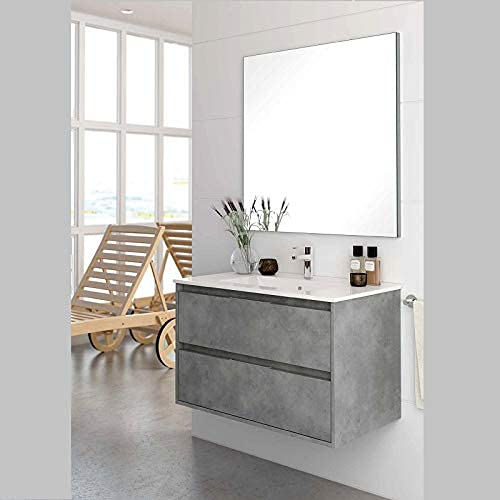 Aquareforma | Mueble de Baño con Lavabo y Espejo | Mueble Baño Modelo Balton 2 Cajones Suspendido | Muebles de Baño | Diferentes Acabados Color | Varias Medidas (Cemento, 80 cm)