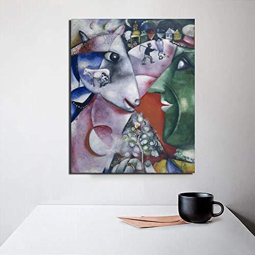 Chihie Marc Chagall Poster Vintage Wandkunst Leinwand Malerei Poster Drucke Moderne Malerei Wandbilder Für Wohnzimmer Home Decor 60x80cm Kein Rahmen
