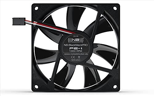 Noiseblocker Gehäuselüfter 92mm BlackSilent Pro PC Fan PE-1 - PC Lüfter 92mm mit Silent Wings & Silikonrahmen - Die Maximale Lautstärke Beträgt nur 14dB (A)
