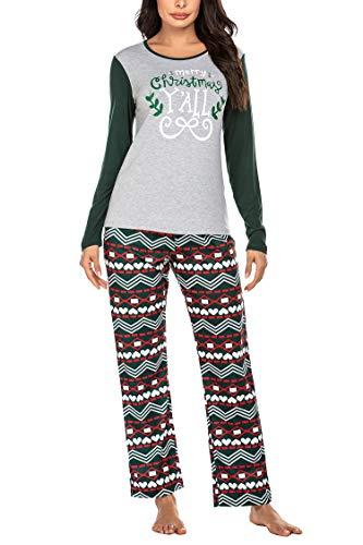 Ekouaer Ladies Pajamas Christmas Sleepwear Modal Long Sleeve Pajama Set Small