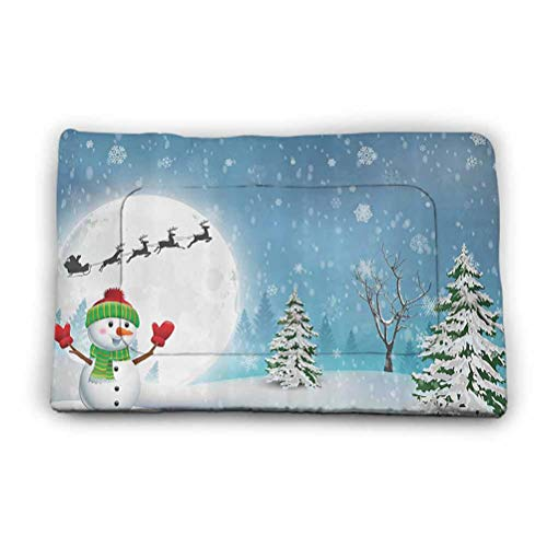 Dog Bed Jolly Snowman Under Full Moon Waving to Santa Claus with Reindeer Sleigh Kids Washable Anti-Slip Kennel Pad for Dogs and Cats 52' x 34' White Blue