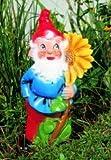 Zwerg mit Sonnenblume, 41 cm, Gartenzwerg, Kunststoff
