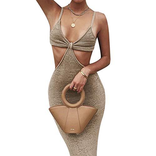 KMBANGI Women Knitted Cutout Maxi Dress Sexy Spaghetti Strap Bodycon Dress Backless Beach Long Black Dresses Party Clubwear(C Khaki,S)