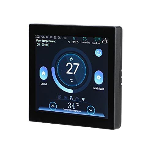 Riiai Termostato, Pantalla LCD a color Doodle inteligente WIFI Termostato, Termostato remoto de calefacción por suelo de agua, Control de voz