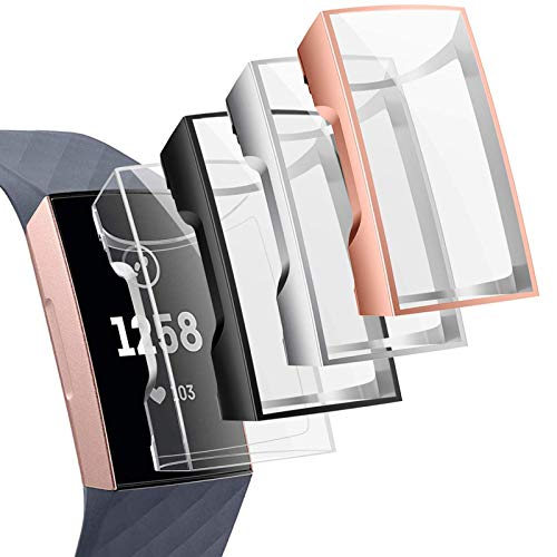 CAVN Compatible avec Fitbit Charge 3 / Charge 4 Protection écran Coque [Pack de 4], Protecteur étui Rechargeable TPU Couverture Complète Ultra Mince Anti-Rayures Anti-Choc écran étui pour Charge 4