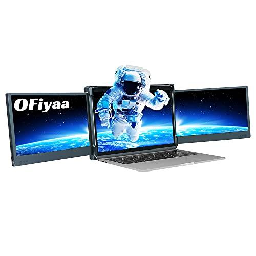 """OFIYAA P2 ポータブルモニター、トリプルラップトップスクリーンエクステンダー、11.6""""デュアルモニター、 IPS 1080P FHD USB-A/Type-C/HDMI 4 /Switchのスピーカーモニター/ PS5 用13-16インチ、Mac PC/Notebook/Laptop/Mac/Nintendo Switch と互換性"""