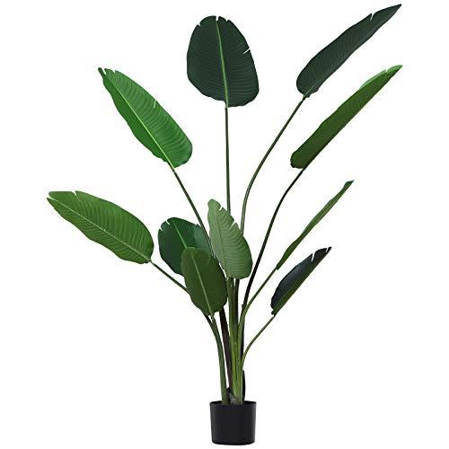 Outsunny Planta de Decoración Artificial de Palma Árbol Realista con Maceta 10 Hojas Ф18x180cm para Exterior e Interior No Requiere Instalación