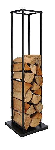 Metall Kaminholzhalter schwarz - Kamin Holz Ständer 117 x 40 x 40 cm - Feuerholz Regal Brennholz Ablage