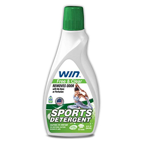 Product Image of the WIN Sports Detergent - Free and Clear (Green) 1 Bottle - Specially Formulated for Sweaty Workout Clothes - Removes Odor from Running Gym and Activewear Apparel and Football Hockey Uniforms