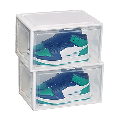 Caja Organizadora De Zapatos Transparente, Zapatillas De Deporte De PláStico Apilables Caja De Zapatos, Vitrina Para Zapatos, Con Cubierta MagnéTica, A Prueba De Polvo, 2 Piezas,White