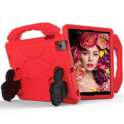 Kids Case for Apple iPad 2 3 4 -Lightweight Shockproof Thumb Handle Holder Cover for iPad 2, Third-Generation iPad, Fourth-Generation iPad Tablet (Red)