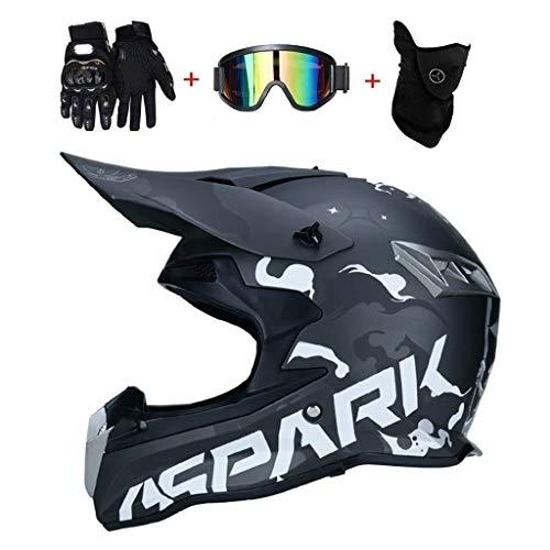 OUTLL Motocross Helm Set, mit Brille/Maske/Handschuhe, Erwachsene Offroad Motorrad MTB BMX Enduro Helm Bergab Quad Fahrrad Absturz Helm, DOT Zertifizierung (Color : Dumb Black Blue, Size : M/55-56CM)