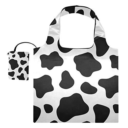 Totes de regalo reutilizables para comestibles Bolsas de compras Gran capacidad Plegables, Piel de vaca Resumen Blanco Negro