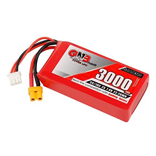 FancyWhoop 2S 3000mAh 7.4V Lipo Batterie 5C avec XT30 Plug Télécommande Émetteur Batterie Grande Capacité Batterie pour Radiomaster TX16S Émetteur Cavalier T12 T16 T18 T8SG Émetteur Série