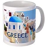 Cegadores edificios blancos en Grecia Tazas Taza de café única Taza de café