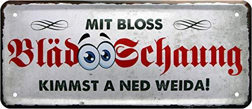 Rahmenlos Plaque décorative en tôle avec Inscription en Allemand Bayrisch 28 x 12 cm