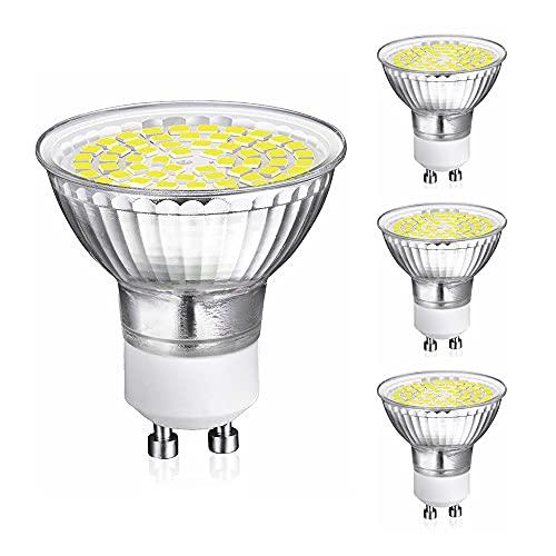UYHGO Bombilla LED GU10, Regulable, 5W, Blanco Frío 6000K, 500LM Equivalente 40W Halógena Lámpara, ángulo de haz de 120°, CRI>80, 220-240V CA, 4PCS