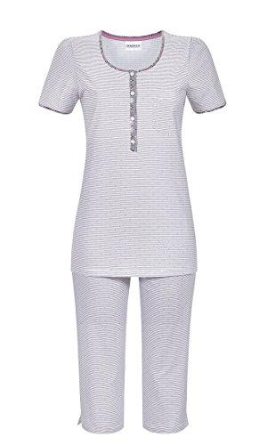 Ringella Damen Pyjama mit Caprihose Platin 42 9211224, Platin, 42