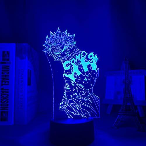 Lámpara de noche 3D para niños y niñas, diseño de cola de hada, anime, 3D, para niños, decoración LED, luz nocturna de cumpleaños, manga, lámpara de mesa, 16 colores