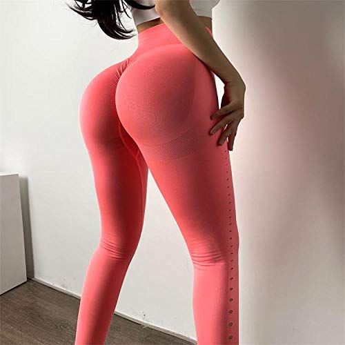 B/H Aptitud Jogging Pantalon,Pantalones de Yoga sin Costuras de Gimnasio de Cintura Alta Leggings para Correr al Aire Libre-Pink_L,Mallas de Yoga de Alta Cintura