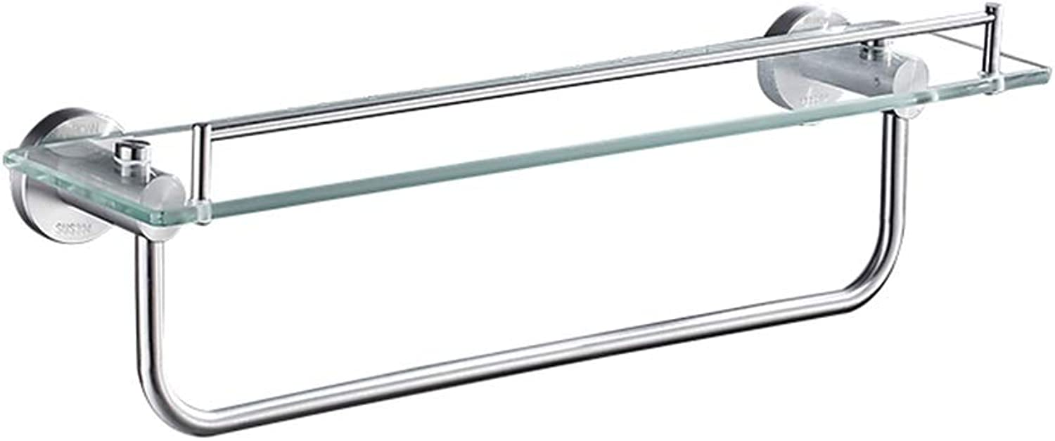 Bathroom Glass Shelf Bathroom Shelf, Bathroom Toilet, Single-Layer Glass Shelf, Wall-Mounted, Rust-Proof Brushed Stainless Steel (60x14cm) Bathroom Shelves (color   60x14cm)