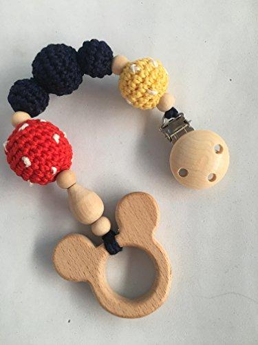 Juguete de dentición de madera Mickey hecho a mano. Un regalo original y práctico para el bebé.