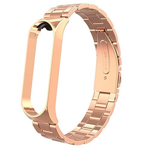 Correa de Metal, Adecuada para la Banda Xiao MI, Compatible con Xiao MI Band 3/4, Correa de muñeca de reemplazo de Acero Inoxidable, Caja de Metal, Duradero xialinr (Color : Rose Gold)