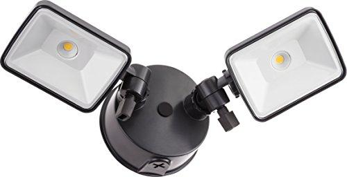 Lithonia Lighting OLF 2SH 40K 120 BZ M4 Twin Head Outdoor Integrated LED Security Flood Light, Square, 4000K, Black Bronze
