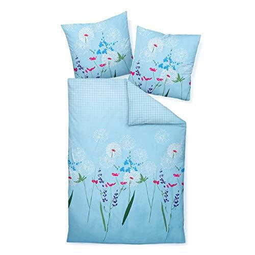 Janine Design Mako-Satin Bettwäsche Moments 98053 himmelblau 1 Bettbezug 155 x 220 cm + 1 Kissenbezug 80 x 80 cm