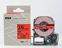 キングジム テプラPro用 互換 テープカートリッジ SC36RW(SC36Rの強粘着) 36mm 赤地黒文字