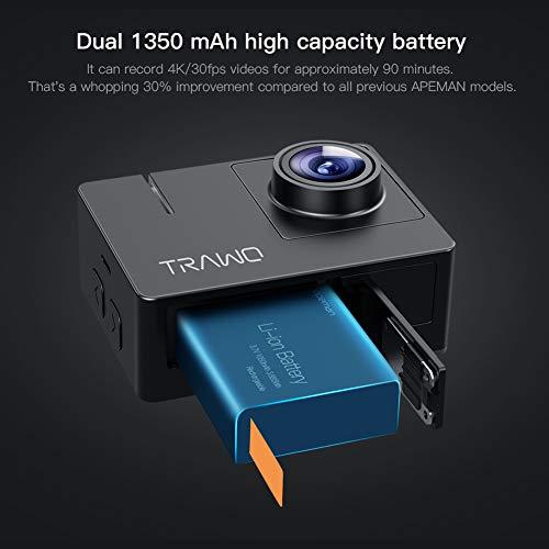 APEMAN A100 Action Cam 4K/30fps UHD WiFi 20MP Unterwasserkamera 40M wasserdichte Camcorder (Extreme EIS Videostablisierung, IPS-Bildschirm, 2x1350mAh Batterien) - 5