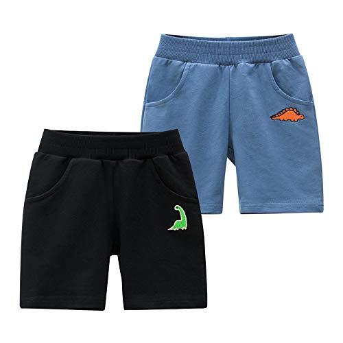 Azalquat Toddler Boys Summer Knit Shorts with Pocket, 2 Pack Baby Pull-On Soft Active Shorts (Dinosaur Black/Blue, 4T)