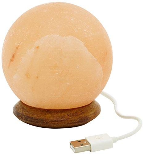 Himalaya Salt Dreams 4041678002695 USB Balle avec Socle en Bois avec Port USB LED électrique pour Ordinateur Portable et Ordinateur de Bureau