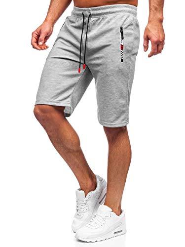 BOLF Hombre Pantalón Corto Deportivos Shorts Bermudas Básicos Pantalón Corto de Fitness Print Entrenamiento Gimnasio Deporte Outdoor Ocio Estilo Urbano JX201 Gris M [7G7]