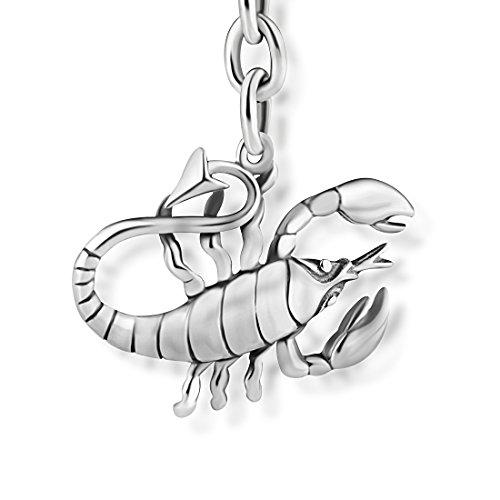 STERLL Herren Schlüssel-Anhänger Sternzeichen Skorpion Sterlingsilber 925 Oxidiert Schmuck-Beutel Geschenkideen für Männer
