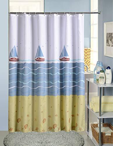 LGANY douchegordijn - waterdicht antischimmel wit polyester weefsel gordijn voor badkamer, douchegordijn blauw zeilboot nautisch met 12 ringen