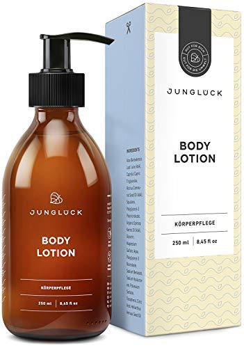 Junglück vegane Body Lotion | 250 ml in Braunglas | Reichhaltige Lotion für den ganzen Körper | Natürliche & nachhaltige Kosmetik made in Germany