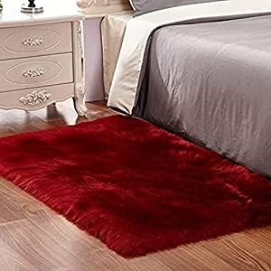 Floor Furry rug- red color