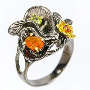 Handmade Jewelry Natural Orange Fire Opal Sterling Silver Ring - orange, yellow, green gemstones